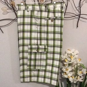 Men's Green and Black Plaid Cargo Shorts